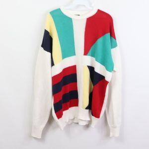 90s XL Multi Color Striped Color block Sweater